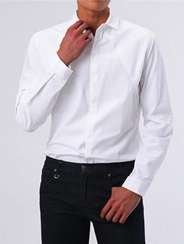 Fashion Turndown Collar Pure Color Shirts For Men