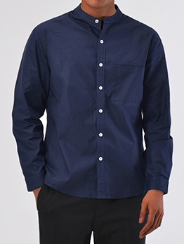 Solid Pocket Stand Collar Long Sleeve Shirt