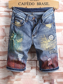 Euro Hand-Painted Colorful Badge Denim Half Pants Men