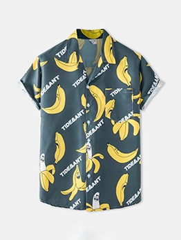 Leisure Banana Printed Summer Short Sleeve Shirt
