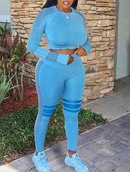 Sport Blue Women Two Piece Long Pants Sets