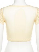 Gauze Perspective V Neck Fashion Short Sleeve Tee Shirt
