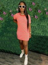 Vogue Striped Print Short Sleeve Dress For Women