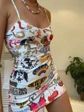Cartoon Printed Fashion V Neck Camisole Short Dress