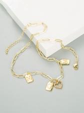 Letter Print Zircon Hip Hop Necklace For Women