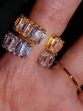 Hip Hip Geometry Inlay Zircon Ring Accessories
