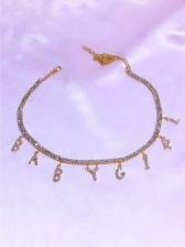 Stylish Full Rhinestone Letter Necklace For Women