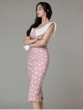 Korean Style Polka Dots Sleeveless Dresses