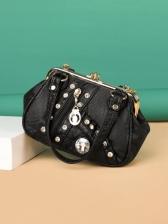Fashion Contrast Color Rivet Handbags
