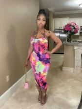 Attractive Tie Dye Backless Sleeveless Midi Dress