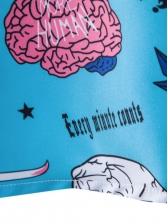 Leisure Blue Graphic Printing Short Sleeve Funny Shirt