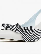 Korean Striped Bow Stiletto Ankle Strap Heeled Sandal