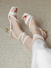 Tie Wrap Faux-Crystal Square Toe Heeled Sandals