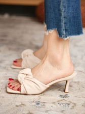 Spring Apricot Solid Square Toe Heeled Slippers