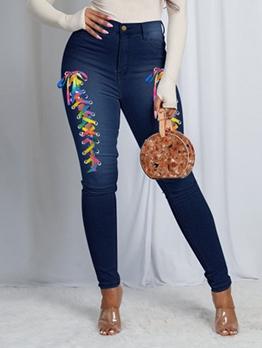 New Contrast Color Tie Wrap Denim Long Jeans