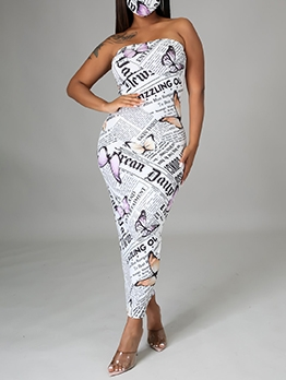 Newspaper Printing Sheath Strapless Maxi Dresses