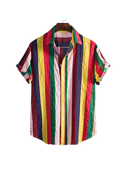 Casual Colorful Striped Short Sleeve Shirt For Men