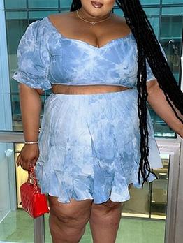 Sexy Print Plus Size 2 Piece Skirt Sets