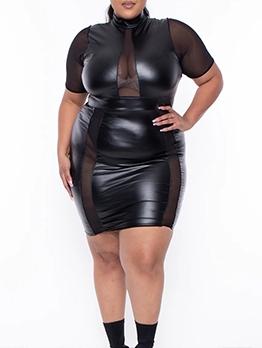 Gauze Sexy Black High Neck Plus Size Dresses