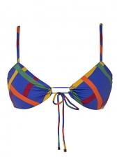 Tie Wrap Contrast Color Sexy Bikini Set For Women