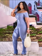 Popular Solid Short Sleeve Ruched Jumpsuit