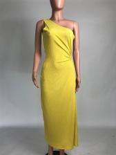 Solid One Shoulder Hollow Out Slit Maxi Dress