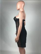 Chic V Neck Black Patchwork Cami Ladies Romper