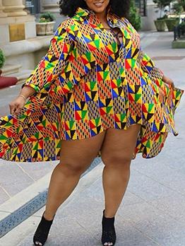 Geometry Print Fashion Leisure Plus Size Short Dress