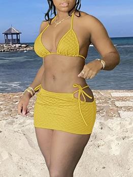 Chic Pure Color Texture Two Piece Bikini Swimsuits