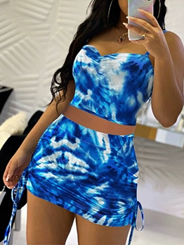 Tie Dye V Neck Two Piece Skirt Outfits