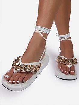 Fashion Chain Patch Lace Up Roman Sandals