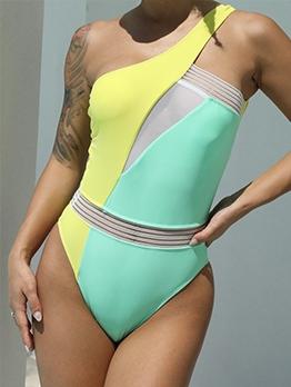 Alluring Patchwork Perspective One Shoulder Bathing Suit
