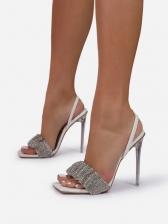 Simple Easy Match Rhinestone Heeled Sandals