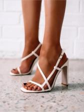 Peep Toe Solid Summer Cold Heels Sandals