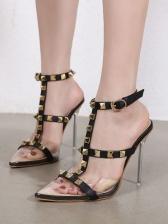 Rivet Design Pointed Toe Heels Sandals Ladies