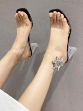 Transparent Rhinestone Peep Toe Heels Sandals