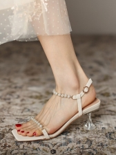 Sexy Simple Faux-Pearl Heels Sandals Summer