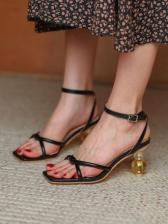 Square Toe Korean Style Heels Sandals Women