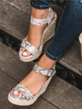 Fashion Buckle Strap Wedge Sandals Summer