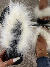 Fashion Faux Fur Wedge Slippers For Women