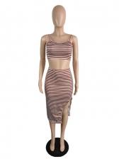 Attractive Striped Asymmetrical Hem 2 Piece Skirt Set