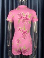 Sweet Flower Print Single-Breasted Short Sleeve Romper