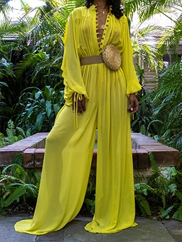 Chiffon Wide Leg Solid Women Loose Jumpsuit