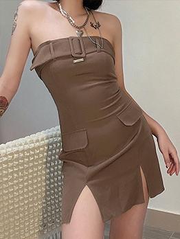 Sexy Vent Strapless Sleeveless Mini Dress