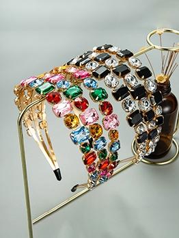 Attractive Rhinestone Multicolored Three Rows Hair Hoop