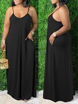 Pure Color V Neck Backless Cami Maxi Dress