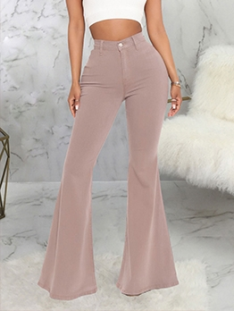 High Waist Versatile Denim Flare Jeans Ladies
