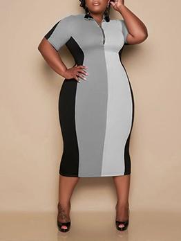 Fashion Contrast Color Patchwork Plus Size Maxi Dress