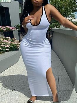 Summer Deep V Neck Slit Maxi Dress Women