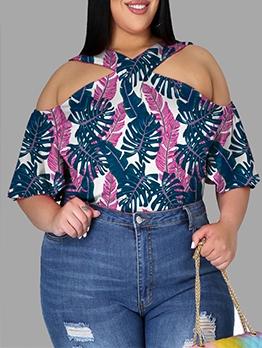 Stylish Leaf Print Plus Size Short Sleeve T-Shirt